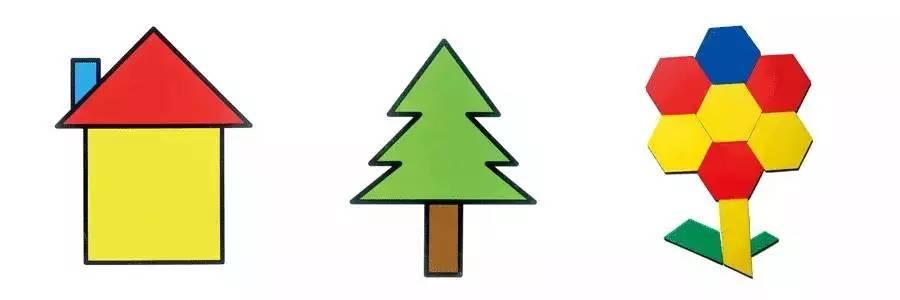 找出一个长方形和几个绿色的三角形图片