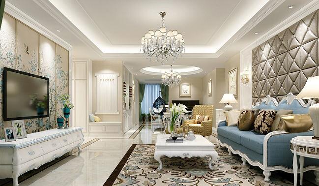漯河龙城国际三室两厅装修效果图展示欧式风格