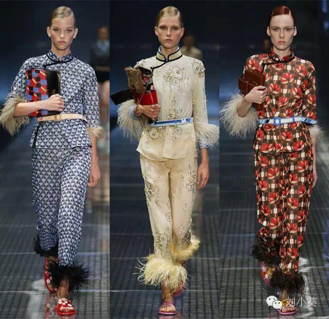 prada玩过军事风,少女风,而这一季却把中式的传统文化服装造型带进了图片