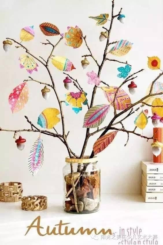 叶子拼贴画  材料:不同形状的叶子,花瓣,果实,胶水,a4纸 让创意把