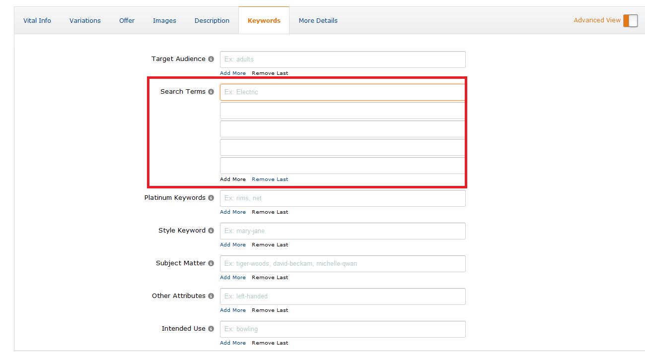 標準亞馬遜search tems寫法