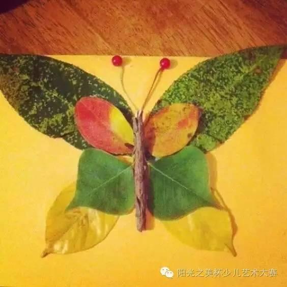 叶子拼贴画  材料:不同形状的叶子,花瓣,果实,胶水,a4纸 让创意把生