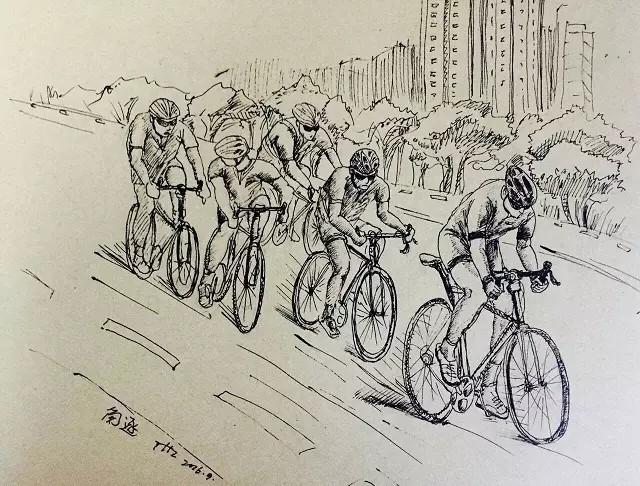 自行车赛绘画点赞