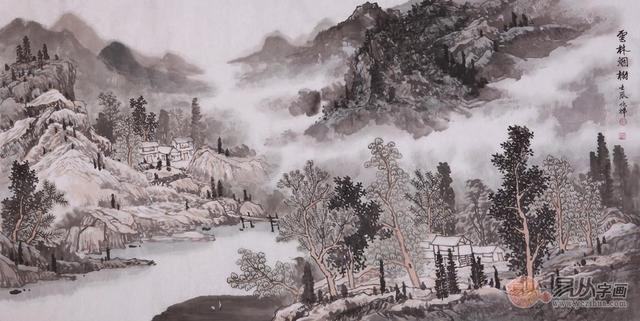 一纸,一笔,一水,一墨,勾勒中国山水画的风情万种图片