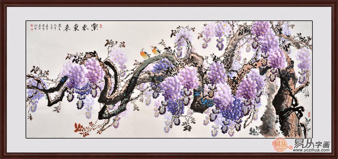 石开六尺横幅写意花鸟画牡丹图《华夏春晖》作品出自:易从网-易从