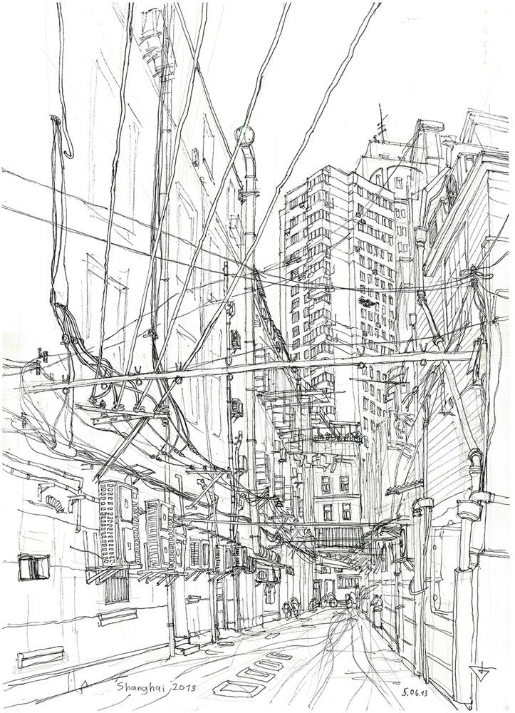 手绘城市简笔画图片