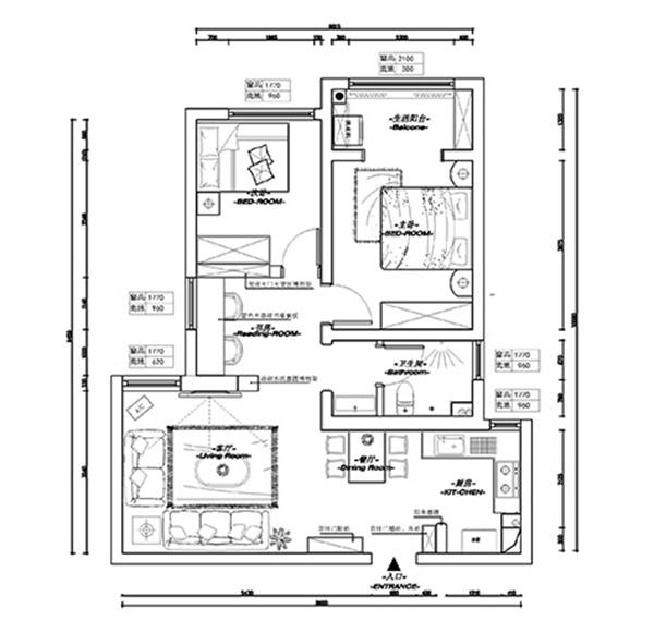 康桥悦岛93平两房装修设计地中海混搭木地板10kv变保护装置的安装与配电cad图纸图片