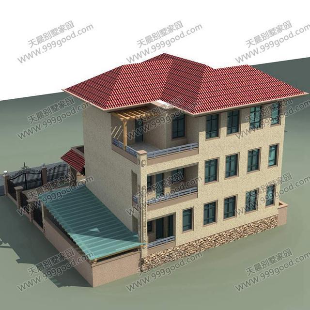 欧式现代农村自建房13x14米三层别墅