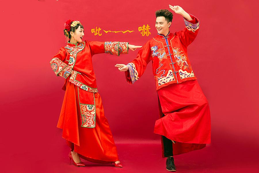 古风红色婚纱手绘