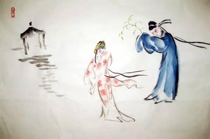 古代女子躲雨手绘