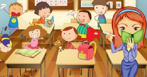 教室上课起立卡通