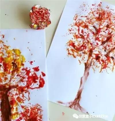 秋天树叶粘贴画大树