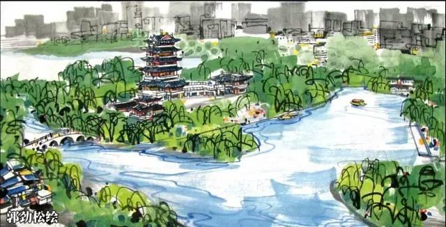 青岛风景 手绘图