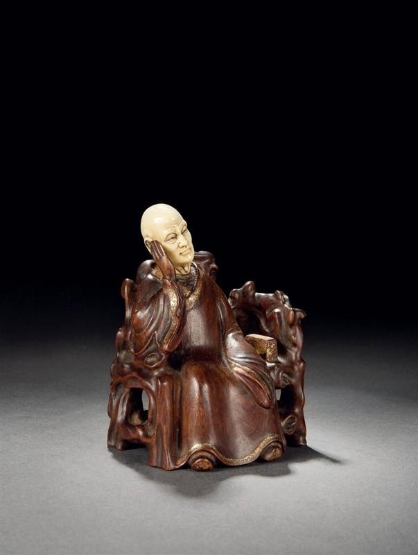 清.嵌象牙木雕罗汉像-明清古玩杂件欣赏 竹木牙篇