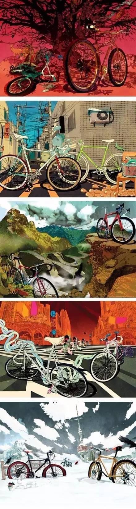 美的可以当手机壁纸的自行车插画作品