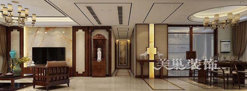 走廊,餐厅和客厅对称分布,走廊两边用实木框架创造矩形图案,过道端图片