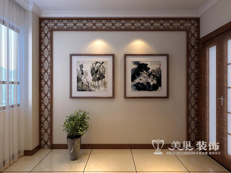 电视背景墙,天然石材和定制中式雕花隔断衬以灰镜
