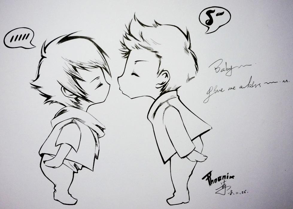 情侣亲吻简笔画