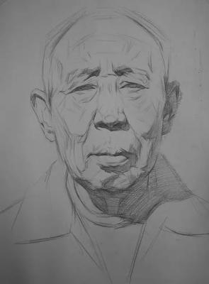 山西美术联考素描高分卷示范【男老年 素描头像 】2015艺考中,素描图片