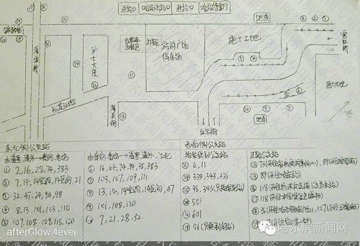 哈尔滨火车站前最新公交站台位置手绘图
