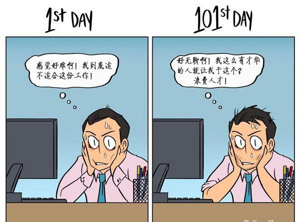 """""""上班第1天vs上班第101天""""对比图图片"""