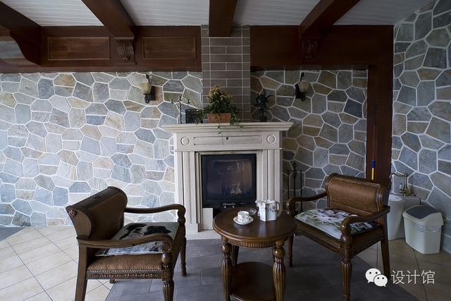 170㎡美式乡村,茶室的墙面是亮点!图片