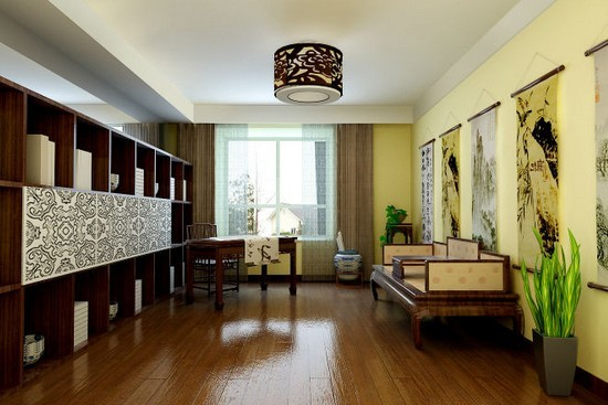 成都独栋别墅装修 中式风格壁纸效果图欣赏