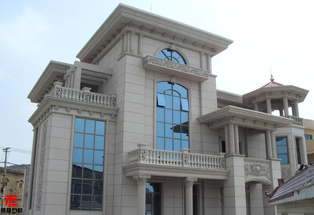 农村高档私人别墅建筑石材干挂幕墙图片