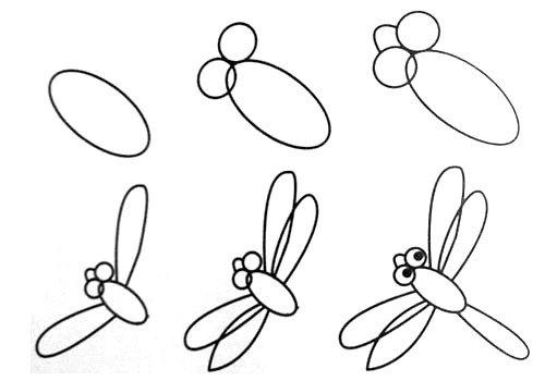 简单的小动物简笔画,蜻蜓简笔画