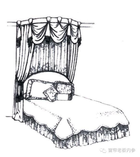 窗帘搭配手绘图之窗帘和床蓬的手绘图欣赏!