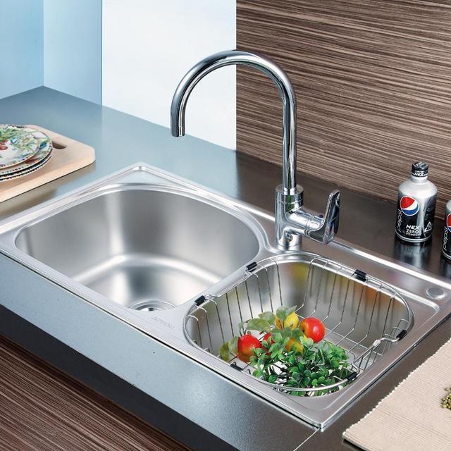 joyou中宇正品卫浴 304不锈钢厨房洗菜盆一体成形水槽双槽盆单品