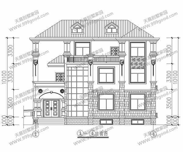 16x14米新农村自建房三层别墅设计图图片