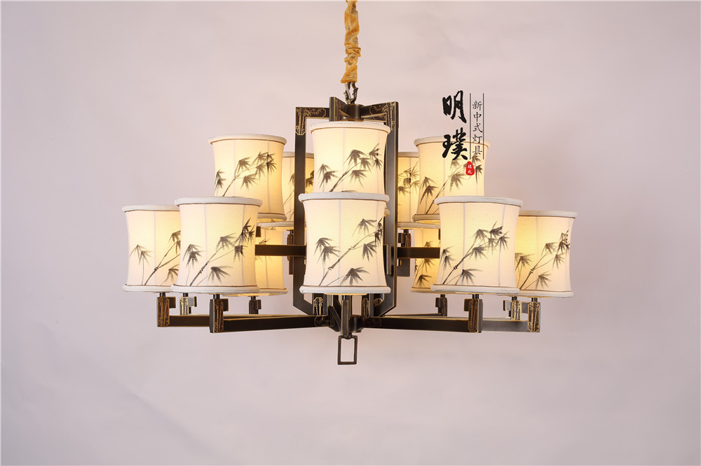 新中式全铜吊灯 | 明璞手绘竹艺款