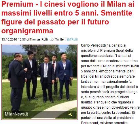 """【MN】Mediaset:中资预计5年内让米兰重返顶级,并重"""""""