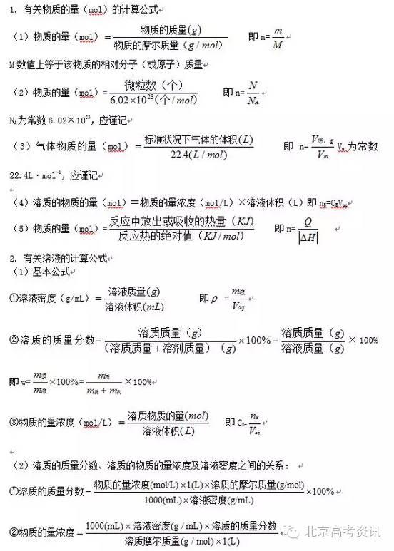 """【高考化学】2017高考备考:史上最全高中化学公式大"""""""