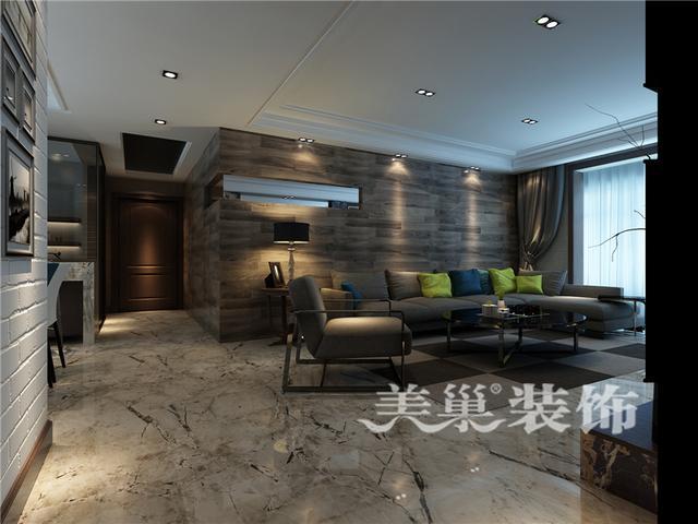 沙发背景墙材质采用了木地板上墙