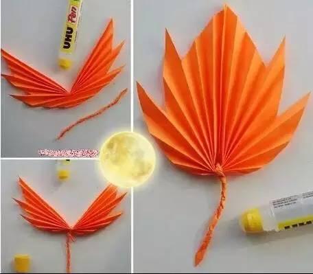 【手工制作】用彩纸给小朋友们折出可爱的枫叶吧
