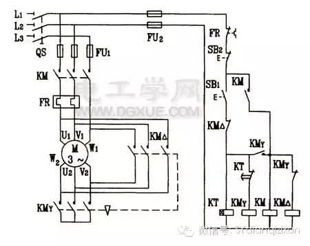 三相电动机星三角降压启动控制电路图解图片