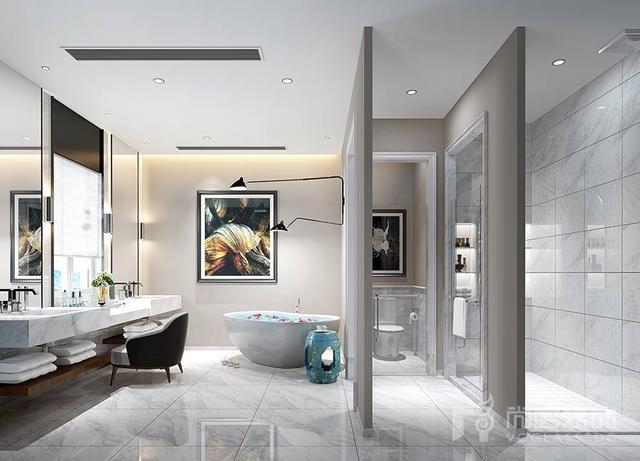 溪上玫瑰园别墅装修设计案例-现代法式与北欧简约-杭州尚层装饰图片