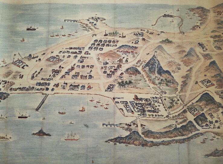 1902年青岛鸟瞰图展示了德国占领青岛初期的建设情况.
