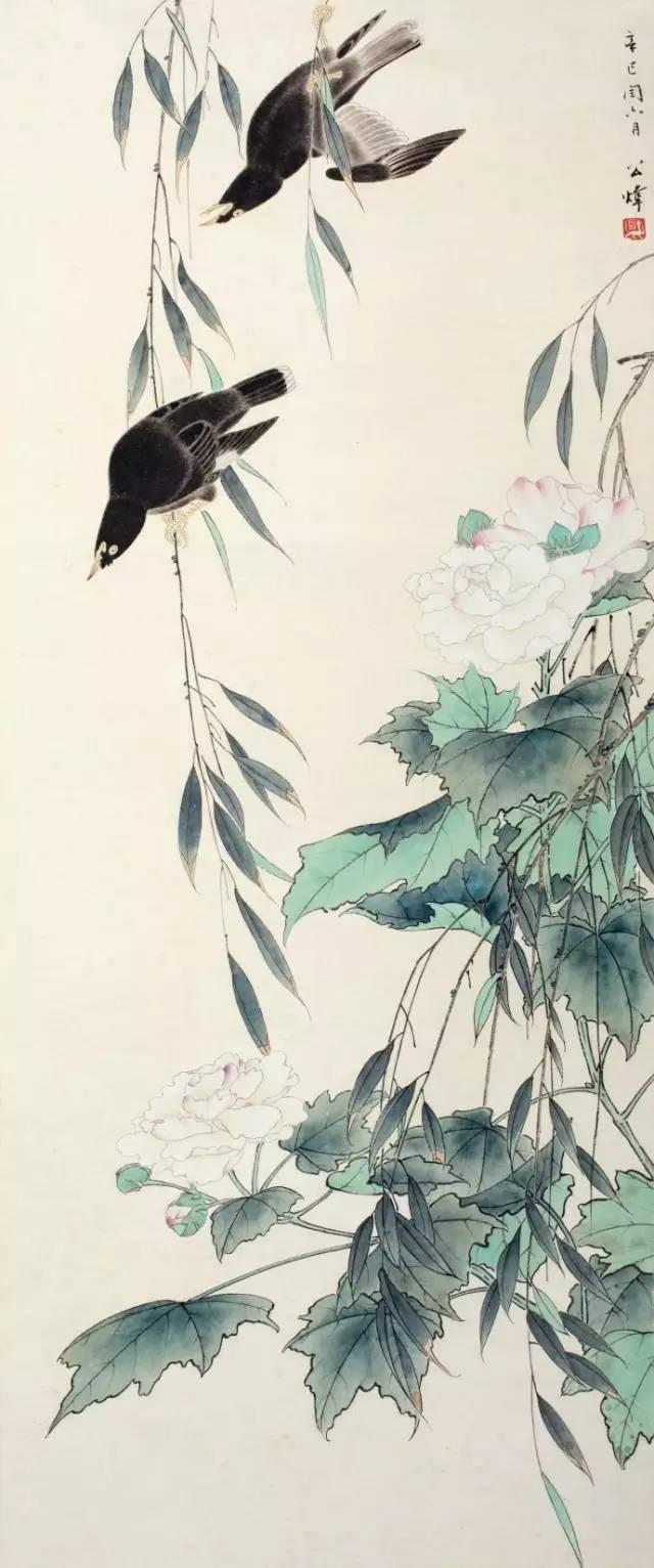 冯慧英手绘彩花鸟