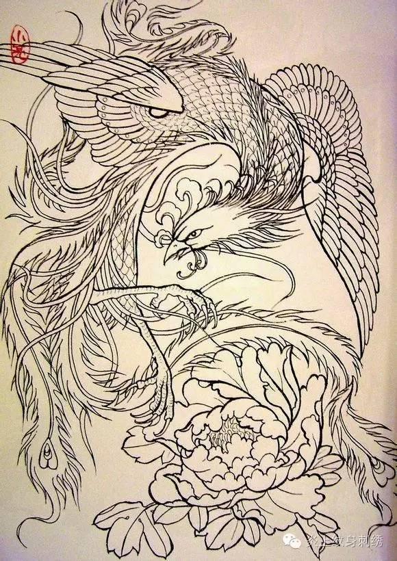 垫脚凤凰纹身手稿分享展示