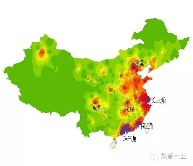 中国轮胎经济分布地图-新