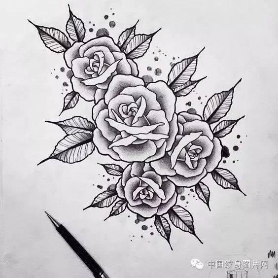 纹身素材:一些花的手稿