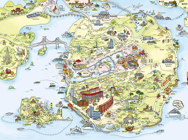厦门市旅游城市,旅游景点想必也是非常多的,所以有一幅地图能够