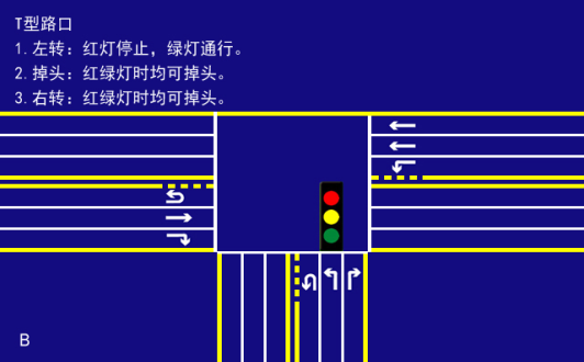 t型路口交通信号灯图解-法马交通