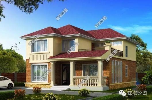 2层别墅10X11米,坡屋顶,大飘窗,16万打包自建房