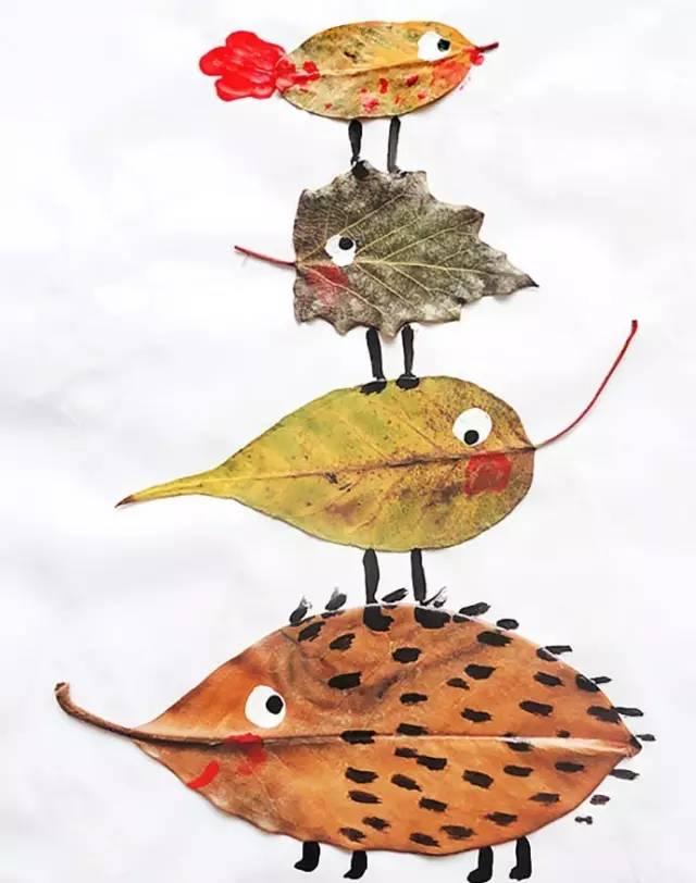 树叶粘贴画秋天的图片大全