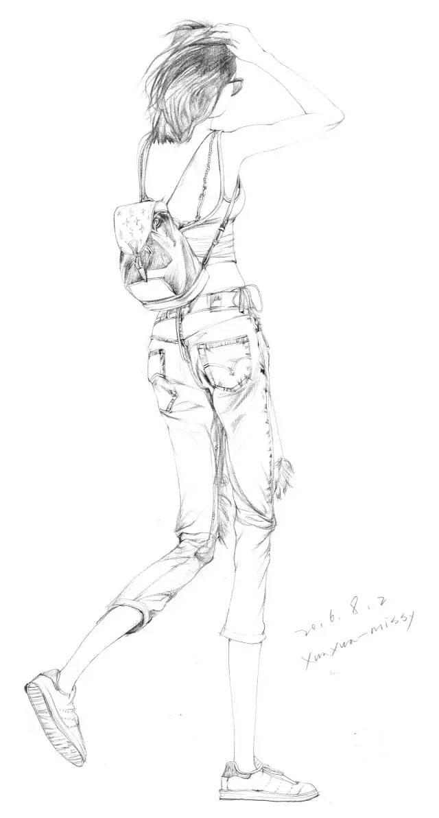 女孩背影手绘铅笔