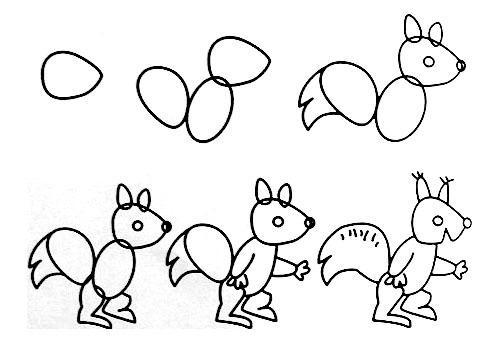 儿童画简笔画小松鼠教程